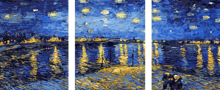 Картина по номерам PX 5145 Звездная ночь (Ван Гог) 40*50*3 ...
